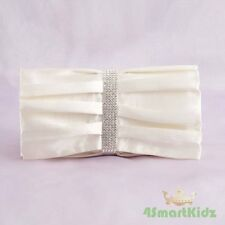 Ivory Satin Evening Wedding Flap Clutch Handbag Bag