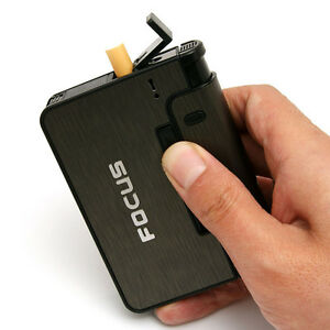 FOCUS Automatic Cigarette Case Box Lighter Case Holder Black