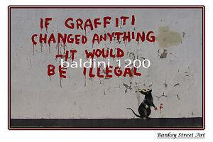 "BANKSY STREET ART ""ILLEGAL GRAFFITI RAT"" - LARGE PHOTO LOOKS GREAT FRAMED -"