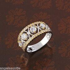 18K White & Yellow Gold Filled CZ Bridal Ring (R-198)