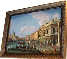 TRES BELLE SCENE A ANCIENNE VENISE peinture+cadre bois!  Venice.  Venise. Vénise