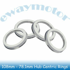 4PC Alloy Aluminum Wheel Spigot Spacers Hub Centric Rings 108mm OD to 78.1mm ID