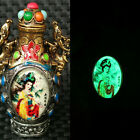 Chinese Antique Silver Beauty Painted Art Luminous Snuff Bottle