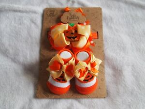 Baby Essential's Infant Girl's Halloween Bow And Booties, Size 0/6 Months
