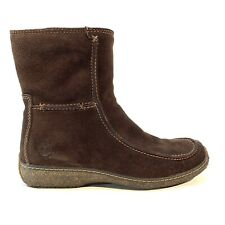Timberland Boots Womens 7.5 Brown Suede Leather Mid Calf zipper Up Fleece Lined