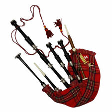 SL SCOTTISH GREAT HIGHLAND BAGPIPE ROSEWOOD BLACK COLOUR SILVER PLAIN MOUNTS