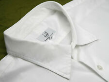 Dunhill Mens Dress Shirt 18 White Cotton Engineered Fit Luxury Designer Style