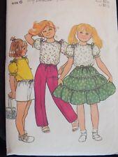 Sweet VTG 70s BUTTERICK 5101 Girls Top Tiered Skirt Pants & Shorts PATTERN 6/25B