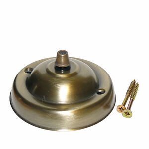 108mm Dia Steel Brass Plated Ceiling Rose c/w Cordgrip Brushed Antique Finish