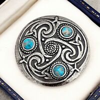 Vintage Turquoise Blue Marble Glass Scottish Celtic Knot Pewter Brooch Pin