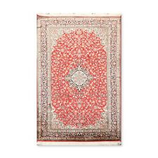 "3'4"" x 5'1"" Hand Knotted Kashmir Pure Silk 340-400 KPSI Area Rug GOI Certified"