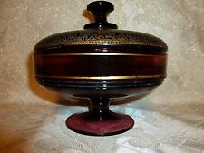 Antique Purple Glass Candy Dish With Lid Ornate Gold Trim
