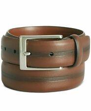Perry Ellis Men's Dress Belt Brown Size 45 Center Embossed Leather $45- 466