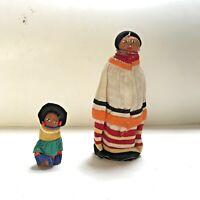 "Lot of 2 Vintage Seminole Palmetto Dolls Native American Tribe Florida 6"" and 3"""
