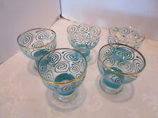 Vintage Atomic Turquoise Glass Tumblers Goblets set 5 Pedestal Mid-century 4 Oz.