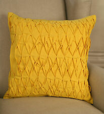 Decorator Cushion Cover 45x45cms - Ruched Yellow Decor Throw Pillow BRAND NEW