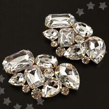 2Pcs Wedding Bridal Fashion Diamante Crystal High-Heel Shoe Clip Party White