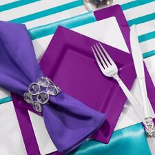8 x PURPLE PARTY PLATES 18cm Strong Square Plastic Tableware Buffet Catering