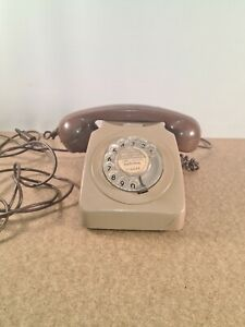 VINTAGE ROTARY DIAL TELEPHONE 746F Brown Original Not Converted Cheltenham