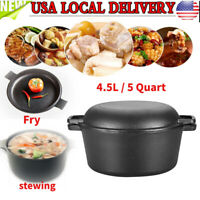 2 In 1 5-Quart Cast Iron Double Dutch Oven Lid Cast Iron Pot Bake Fry Stew Top