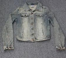 Miss Selfridge Faded Distressed Look Blue Denim Jacket Size 10