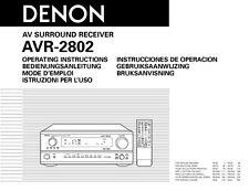 Denon AVR-2802 AV Receiver Owners Manual