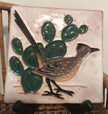 Roadrunner & Cactus Pottery Tile - MCM- Desert House Crafts
