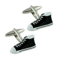 Basketball Shoe Cufflinks Sneakers High Tops Top Black White Enamel w Gift Bag