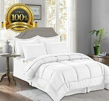 8 Pieces Bed in a Bag Bamboo Pattern Comforter Set Full/Queen, White