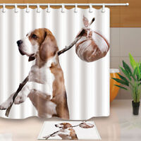 "Dog Decor Cute Beagle With Package Bathroom ShowerCurtainSet Fabric& Hook71"""