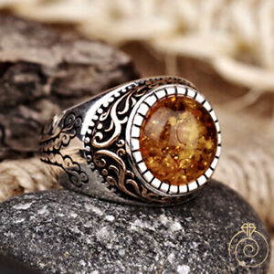 Baltic Amber Men Gemstone Engagement Ring Vintage Silver Protection Cool Jewelry