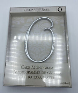 "NIB Lillian Rose Cake Topper Monogram O 5.5"" Silver Rhinestone Wedding"