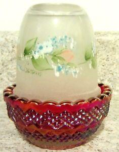 "Mosser Glass Red Carnival / Crystal Handpainted ""Rosebuds"" Fairy Light, new"