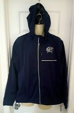 Columbus Bluejackets Womens Coat Size XXL 2XL Detachable Hood Full Zip Blue New