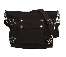 WOMENS GIRLS BLACK CANVAS 1 POCKET HANDBAG PURSE POCKETBOOK GOTH DARK LOOK