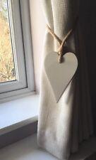 Handmade Long Wooden Heart Curtain Tie Backs Shabby Chic White, Jute Rope Ties