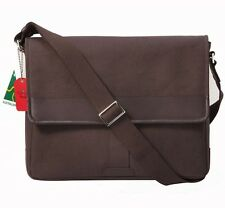 Brown Canvas with Genuine Leather Trim Cross Body Messenger Bag for Men & Women