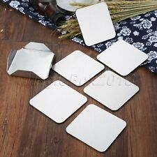 6Pcs/Set Non-slip Stainless Steel Coaster Cup Mats Pads Square with Base Holder