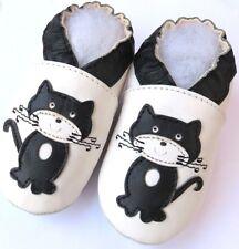 Minishoezoo cat white 6-12 m soft sole baby leather crib shoes crawling slippers
