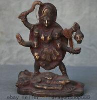 """6 """"vieux bronze bronze stand Kwan-Yin Guan Yin Bouddha tête de mort statue"""