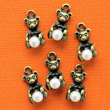 6 Bear Charms Antique Bronze Tone 3D with Imitation Pearl - BC615