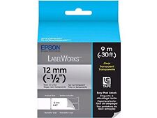 Epson LabelWorks Clear Tape Cartridge Black on Clear 1/2 Inch 30 Feet LC 4TBN9
