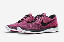 Womens New Nike Flyknit Lunar 3 Running Shoes Size 9.5 Color Pink/Black
