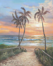J. Litvinas Original Oil Painting 'TROPICAL BEACH' 8 by 10 inches