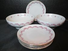 Graf Von Henneberg JL Menau Pink Roses Ribbed 6 Pieces Germany