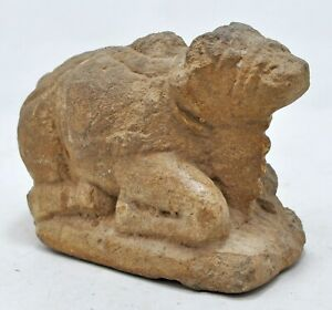 Antique Sand Stone Holy Cow Nandi Figurine Original Old Hand Carved