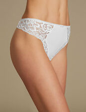 LADIES WHITE MARKS AND SPENCER CENTRE BOW SIDE LACE MICROFIBRE THONG M&S