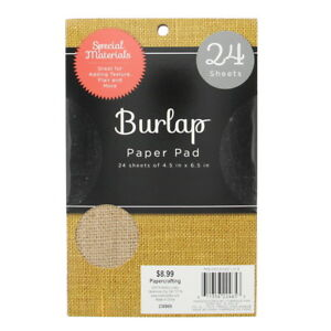 "American Crafts DCWV 4.5"" X 6.5 Natural Colored Burlap Sheets Stack Collection -"