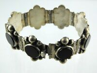 Vintage Sterling Silver Del Rio Mexico Black Onyx Panel Link Bracelet 925 36.2 G