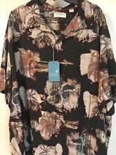 NWT  2xb Caribbean Pure Silk Blend Black Hawaiian Shirt $89